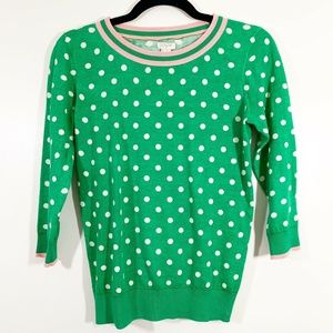 JCrew Green Cream Polka Dot 3/4Sleeve Crew Sweater
